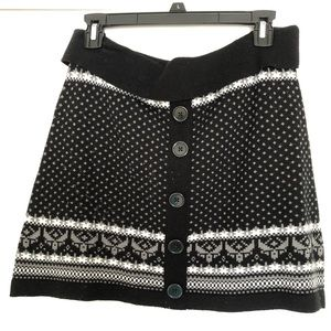 Black Knit Printed Mini Skirt